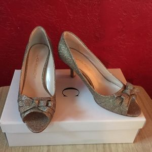 Violetta Metallic Glittery Champagne Bow Shoes